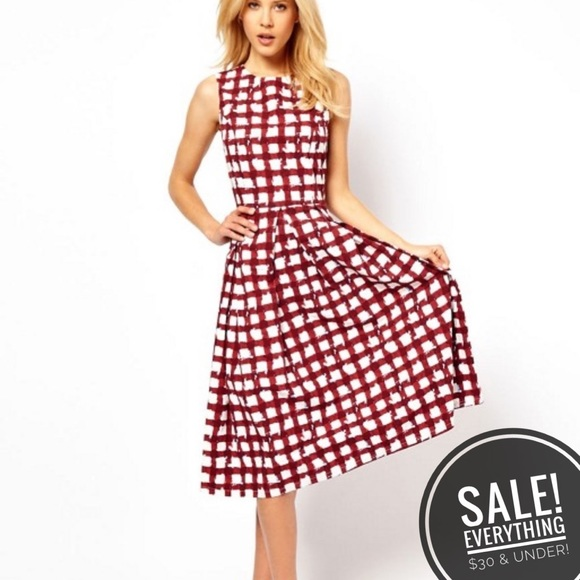 b1cbc7a027f5 ASOS Dresses & Skirts - SALE! ASOS Midi Skater Dress In Check Print (20